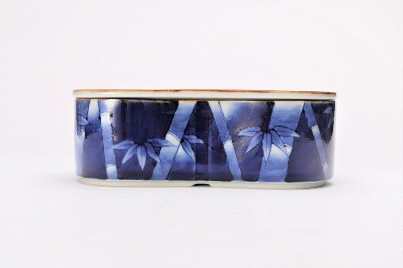 福泉窯×MARUKEIオリジナル 染付竹濃 繭型蓋物 画像サブ1