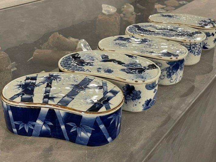 福泉窯×MARUKEIオリジナル 染付竹濃 繭型蓋物 画像サブ10