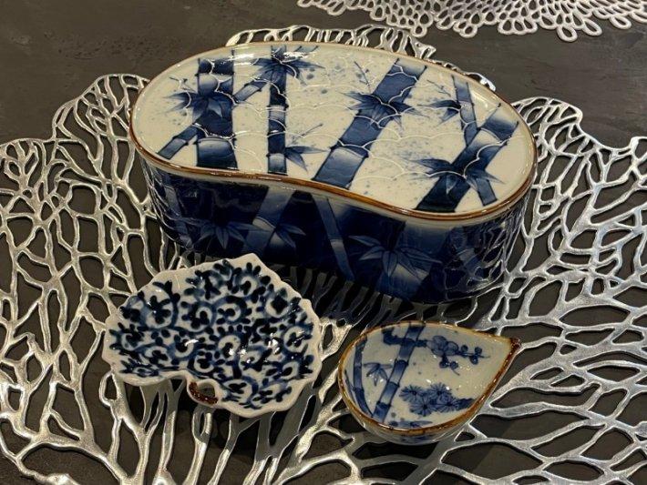 福泉窯×MARUKEIオリジナル 染付竹濃 繭型蓋物 画像サブ11