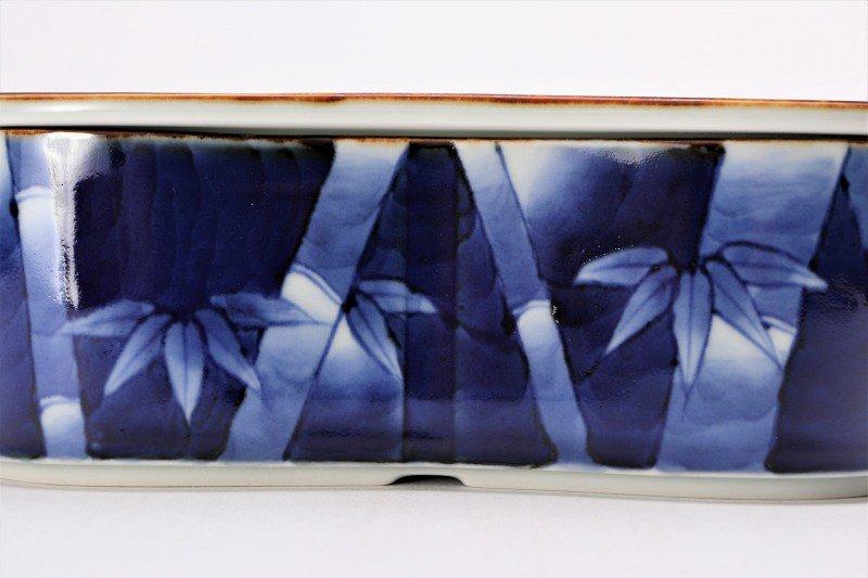 福泉窯×MARUKEIオリジナル 染付竹濃 繭型蓋物 画像サブ3