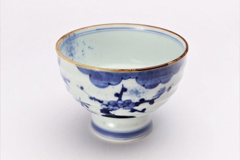 福泉窯×MARUKEIオリジナル 染付濃松竹梅 高台ロクロ目麺鉢 画像メイン