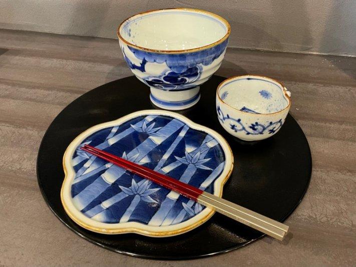 福泉窯×MARUKEIオリジナル 染付濃松竹梅 高台ロクロ目麺鉢 画像サブ12