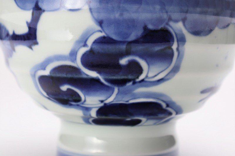 福泉窯×MARUKEIオリジナル 染付濃松竹梅 高台ロクロ目麺鉢 画像サブ6