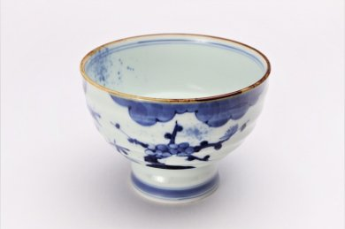 福泉窯×MARUKEIオリジナル 染付濃松竹梅 高台ロクロ目麺鉢