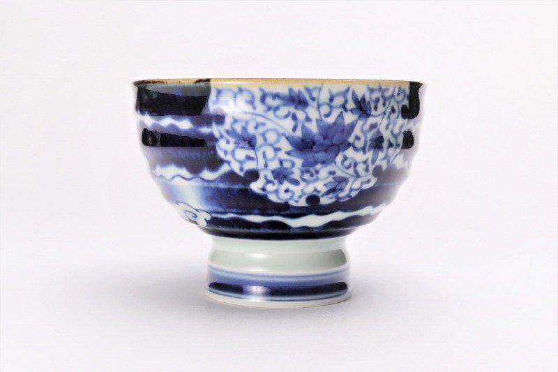 福泉窯×MARUKEIオリジナル 染付雲濃丸囲紋 高台ロクロ目麺鉢 画像サブ1