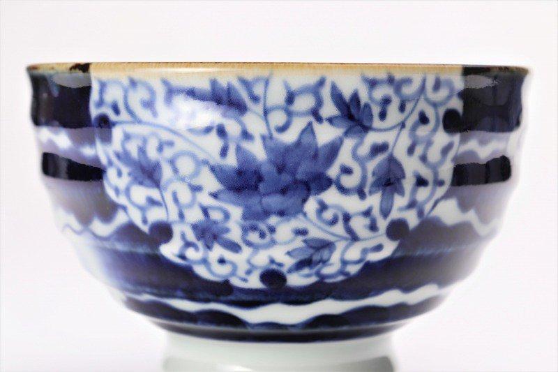 福泉窯×MARUKEIオリジナル 染付雲濃丸囲紋 高台ロクロ目麺鉢 画像サブ2