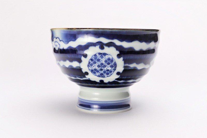 福泉窯×MARUKEIオリジナル 染付雲濃丸囲紋 高台ロクロ目麺鉢 画像サブ3