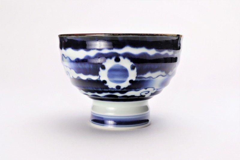 福泉窯×MARUKEIオリジナル 染付雲濃丸囲紋 高台ロクロ目麺鉢 画像サブ5