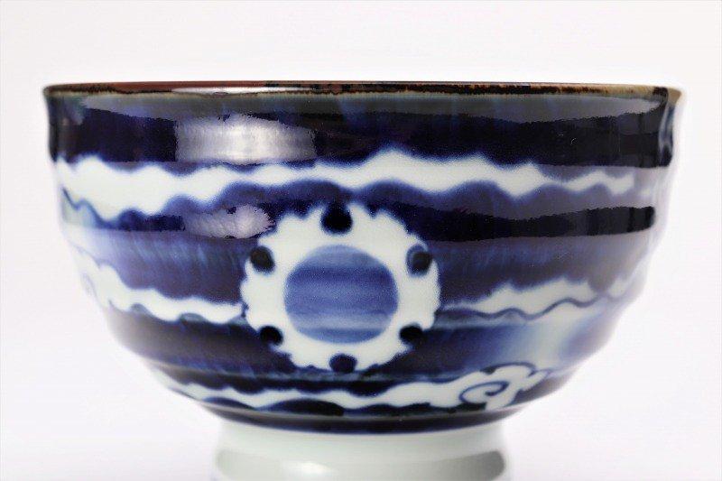 福泉窯×MARUKEIオリジナル 染付雲濃丸囲紋 高台ロクロ目麺鉢 画像サブ6