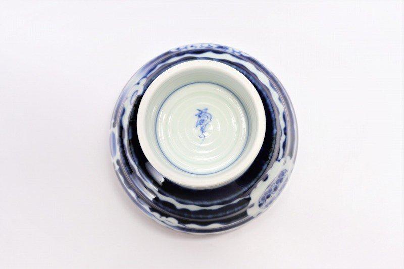 福泉窯×MARUKEIオリジナル 染付雲濃丸囲紋 高台ロクロ目麺鉢 画像サブ9