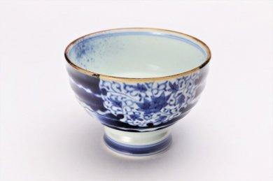 福泉窯×MARUKEIオリジナル 染付雲濃丸囲紋 高台ロクロ目麺鉢