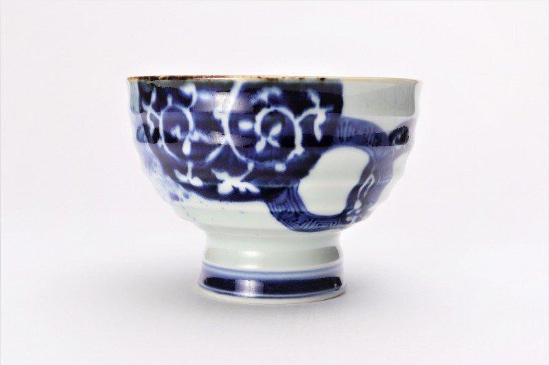 福泉窯×MARUKEIオリジナル 染付地紋丸紋 高台ロクロ目麺鉢 在庫8個 画像サブ1