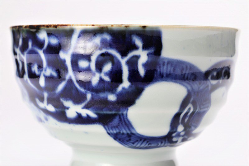 福泉窯×MARUKEIオリジナル 染付地紋丸紋 高台ロクロ目麺鉢 在庫8個 画像サブ2
