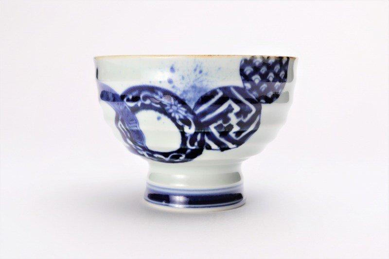 福泉窯×MARUKEIオリジナル 染付地紋丸紋 高台ロクロ目麺鉢 在庫8個 画像サブ3