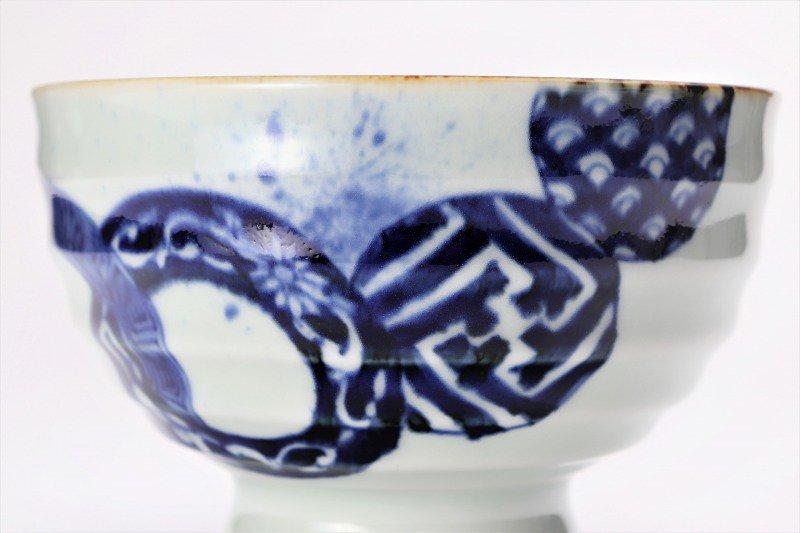 福泉窯×MARUKEIオリジナル 染付地紋丸紋 高台ロクロ目麺鉢 在庫8個 画像サブ4