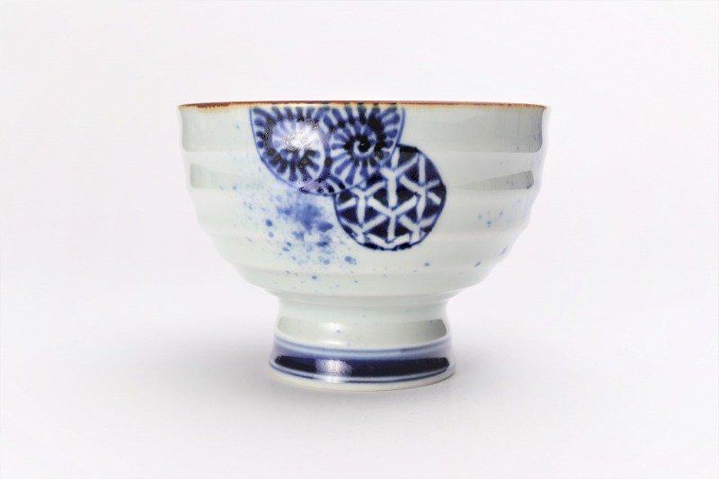 福泉窯×MARUKEIオリジナル 染付地紋丸紋 高台ロクロ目麺鉢 在庫8個 画像サブ5