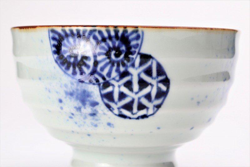 福泉窯×MARUKEIオリジナル 染付地紋丸紋 高台ロクロ目麺鉢 在庫8個 画像サブ6