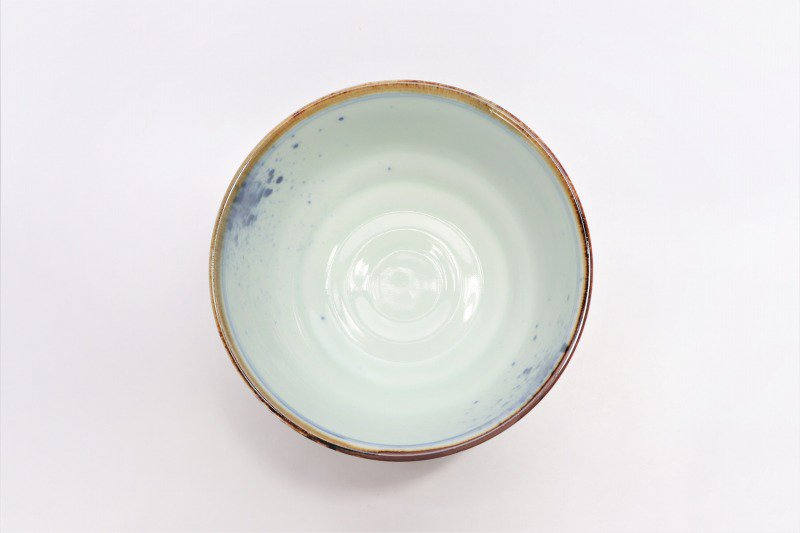 福泉窯×MARUKEIオリジナル 染付地紋丸紋 高台ロクロ目麺鉢 在庫8個 画像サブ7