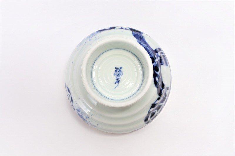 福泉窯×MARUKEIオリジナル 染付地紋丸紋 高台ロクロ目麺鉢 在庫8個 画像サブ9