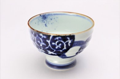 福泉窯×MARUKEIオリジナル 染付地紋丸紋 高台ロクロ目麺鉢 在庫8個