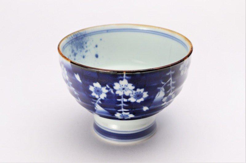 福泉窯×MARUKEIオリジナル 染付しだれ桜 高台ロクロ目麺鉢 画像メイン