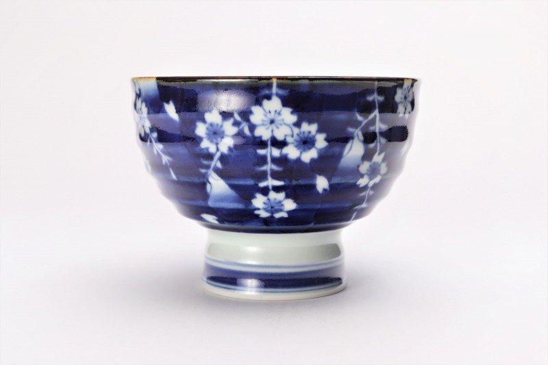 福泉窯×MARUKEIオリジナル 染付しだれ桜 高台ロクロ目麺鉢 画像サブ1