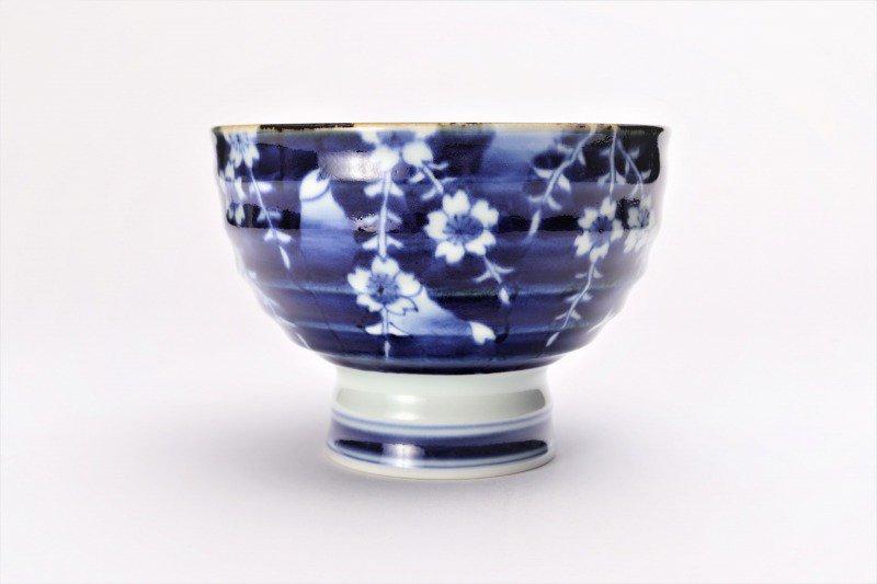 福泉窯×MARUKEIオリジナル 染付しだれ桜 高台ロクロ目麺鉢 画像サブ3