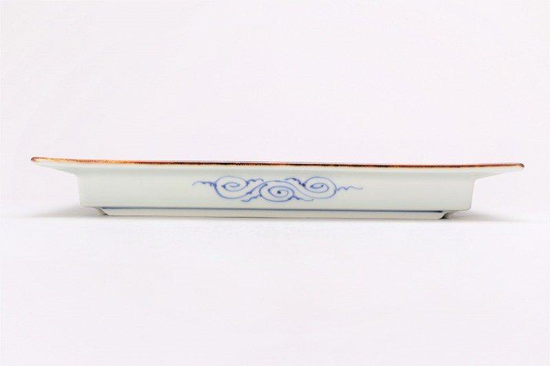 福泉窯 染付地紋丸紋 鍔付正角盛皿 在庫1枚 画像サブ1