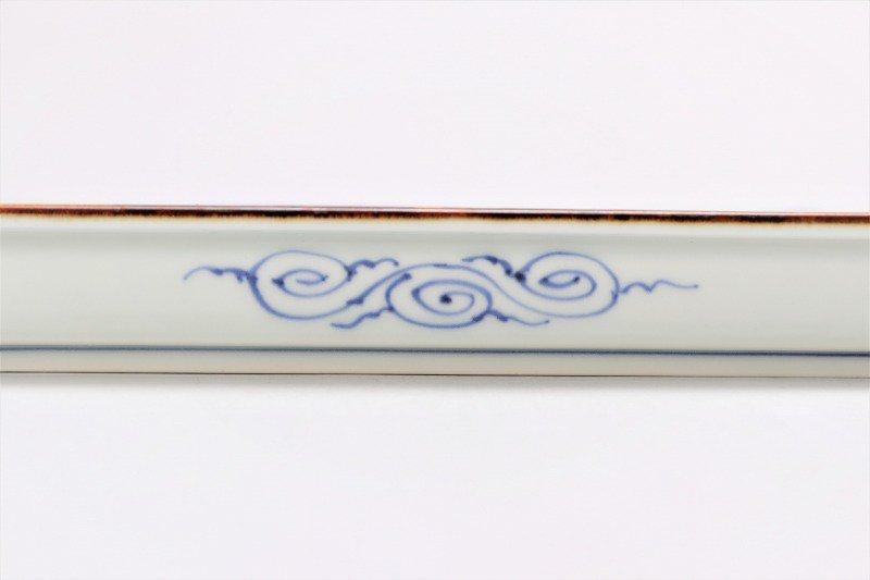 〇福泉窯 染付地紋丸紋 鍔付正角盛皿 画像サブ2