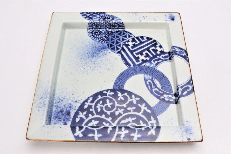 福泉窯 染付地紋丸紋 鍔付正角盛皿 在庫1枚 画像サブ3
