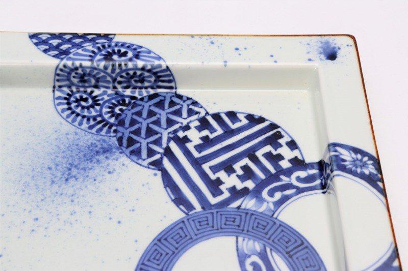 〇福泉窯 染付地紋丸紋 鍔付正角盛皿 画像サブ4