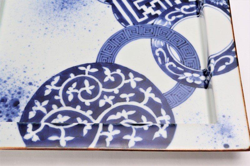 〇福泉窯 染付地紋丸紋 鍔付正角盛皿 画像サブ5