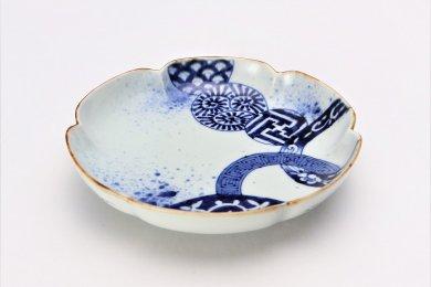 福泉窯×MARUKEIオリジナル 染付地紋丸紋 六方割7寸皿