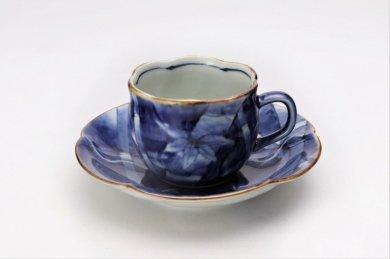 福泉窯 染付竹濃 花びら型コーヒー碗皿 在庫4個