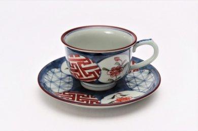 陶祥窯 染錦呉須濃丸紋 反コーヒーカップ 在庫3個