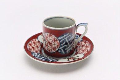 陶祥窯 染錦赤濃丸紋 デミダスカップ