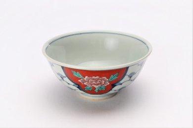 陶祥窯 染錦三方間取牡丹茶碗