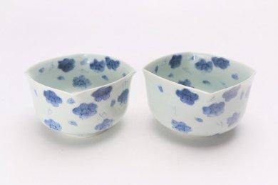 正三郎窯 (手作り)染付桜角なぶり小鉢 在庫4組