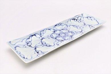 そうた窯 染付花弁紋 なぶり長角皿37cm