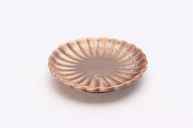 陶悦窯 紫素雲母金 菊小皿