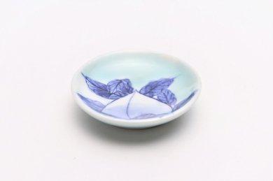 ☆三宅製陶所 青磁桃絵 豆小皿
