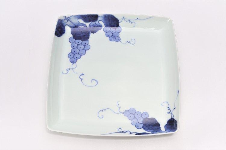 【オリジナル】染付ぶどう絵スクエア皿(大) 画像サブ1
