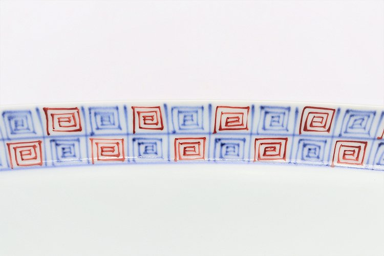 【オリジナル】染付赤渦地紋スクエア皿(大) 画像サブ2