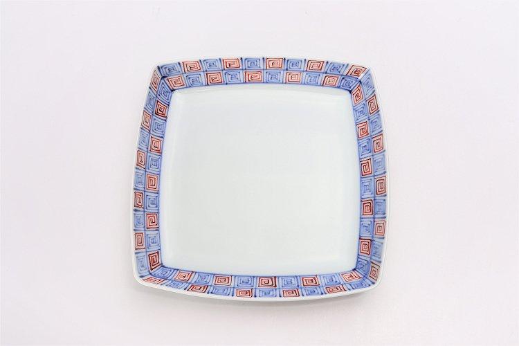 【オリジナル】染付赤渦地紋スクエア皿(中) 画像サブ1