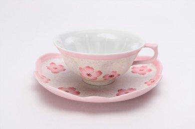 ☆田清窯 薄ピンク釉虹彩桜ティーカップ