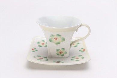 ☆田清窯 黄柞灰虹彩桜角コーヒー碗皿