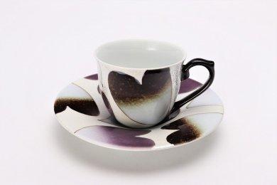 ☆田清窯 バレンタイン黒新コーヒー碗皿