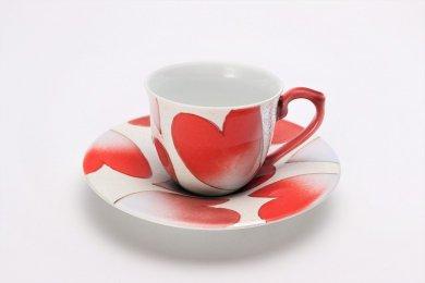 ☆田清窯 バレンタイン赤新コーヒー碗皿