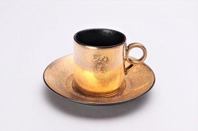 ☆陶悦窯 黒柚子内晶外金塗り 9型コーヒーC/S