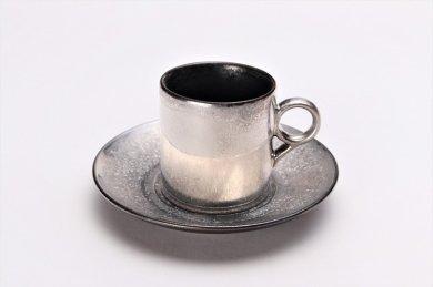 ☆陶悦窯 黒柚子内晶外銀塗り 9型コーヒーC/S